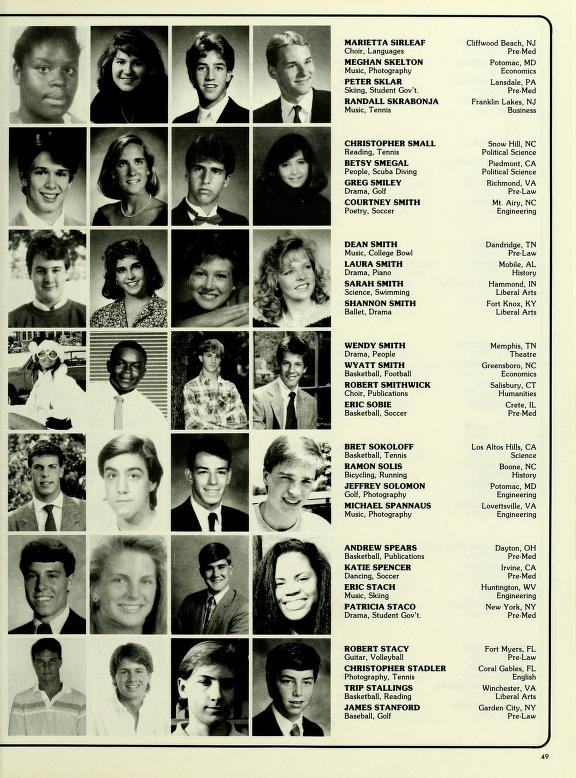 A page from the Class of 1992 Pic Book, showing four columns of black-and-white photos of incoming first-year students, along with their names, hometowns, and interests
