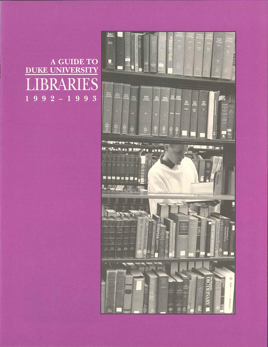 "Cover of ""A Guide to Duke University Libraries, 1992-1993. The purple cover includes a black and white photo of a student browsing books in the library stacks."