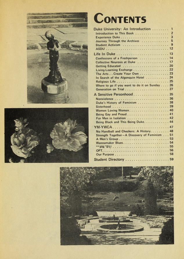 The table of contents for the 1974-1975 University Experience. In addition to a list of articles, the page includes three photos of the terraces at the Sarah P. Duke Gardens.