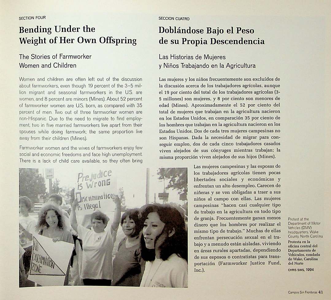 Printed page with photograph of women protesting