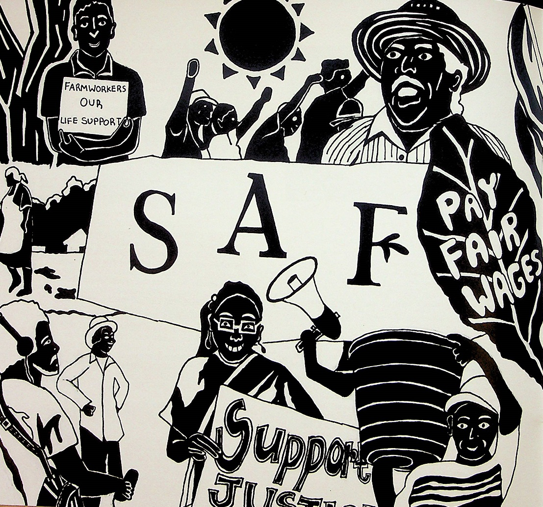 Black and white SAF protest drawing