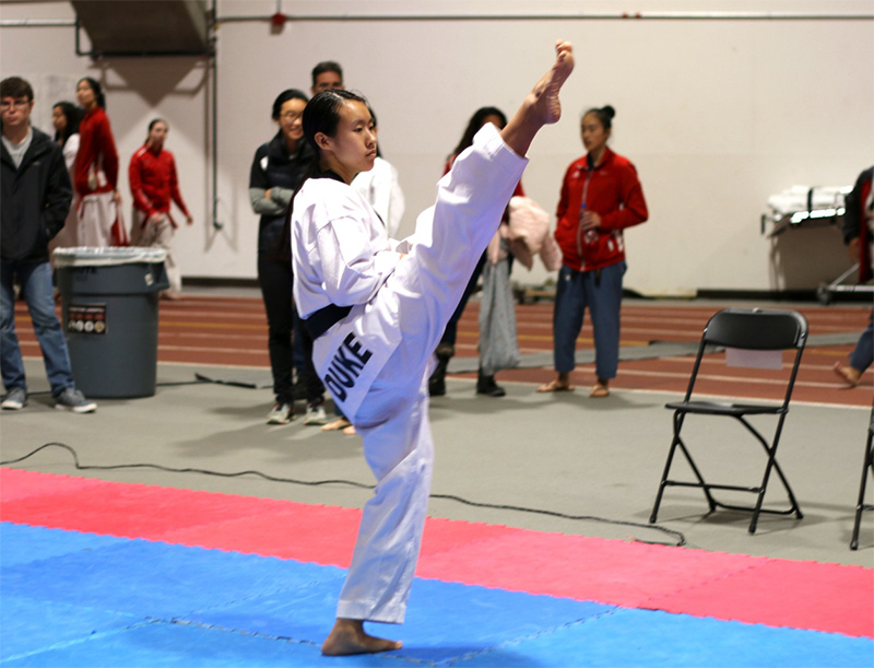 Teresa Mao of Duke Taekwondo competing at Brown University in November 2018