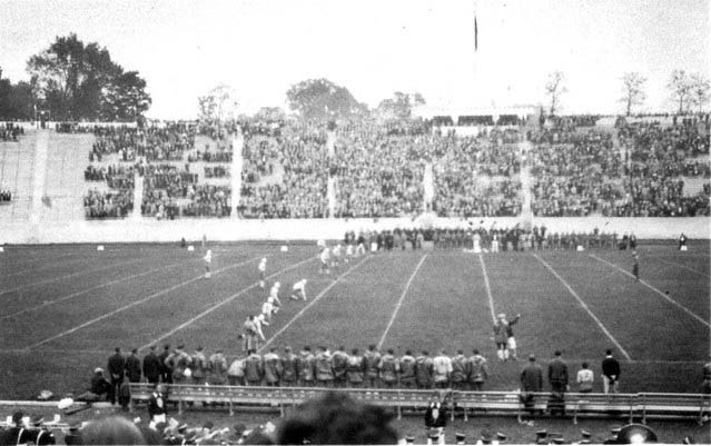 This is the kick-off to a Duke game in Duke Stadium, later known as Wallace Wade Stadium, circa 1929.