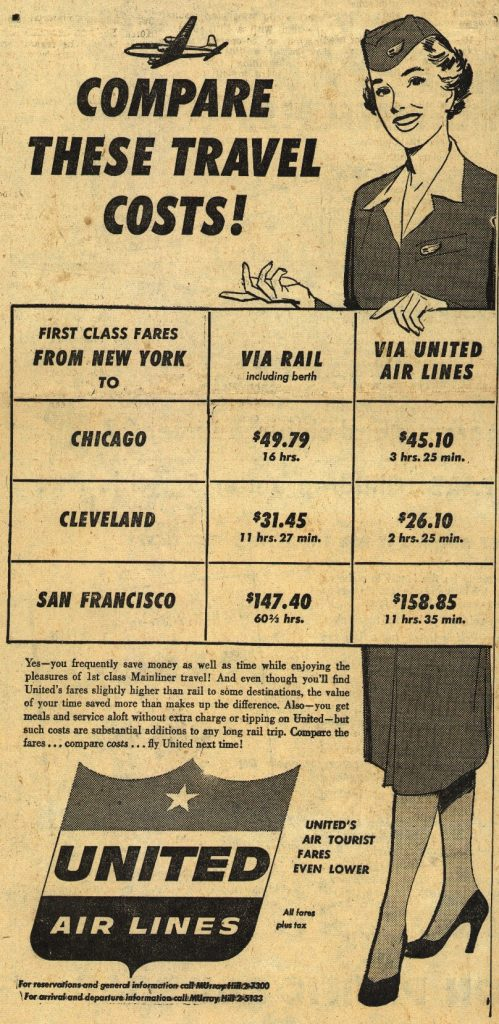 "Black and white, undated, but vintage seeming United Airlines ad. The headline reads ""Compare these Travel Costs."" It has an illustration of a female flight attendant holding a chart showing the cost of travel to various destinations by train in comparison to fare on United Airlines."