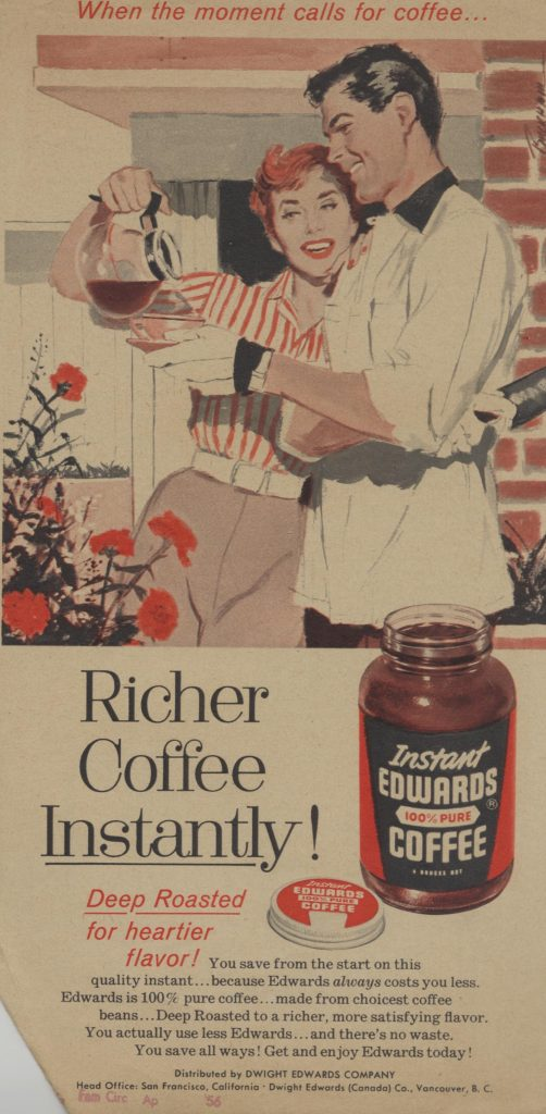 "Vintage advertisement for instant coffee. Illustrated with a picture of a woman pouring coffee for a man. The headline reads ""Richer Coffee Instantly!"""
