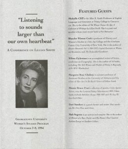 Conference brochure featuring a portrait of Lillian Smith on the cover.