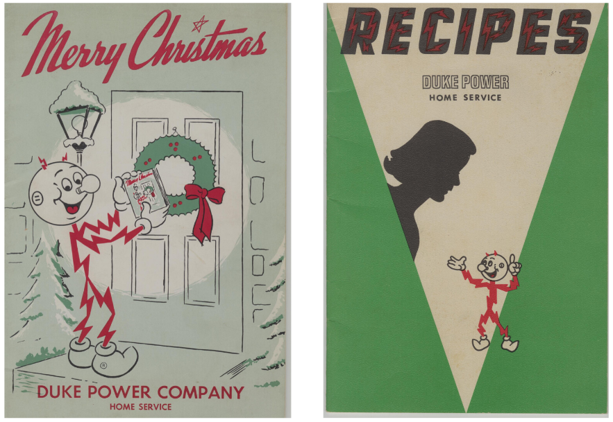 Covers of two Duke Power cookbooks. Both feature their mascot, a stick figure made of lightning bolts.