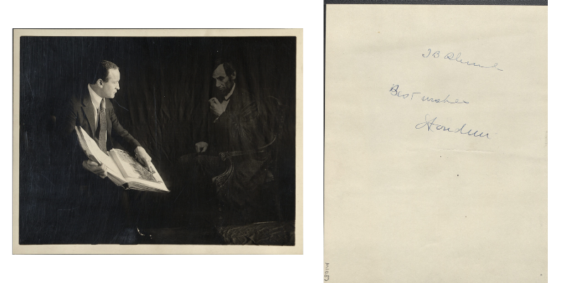 "On the left a photograph of Houdini, wearing a suit, sitting with what appears to be the ghost of Abraham Lincoln. On the right, the back side of the photo with a handwritten note that reads ""J.B. Rhine. Best Wishes, Houdini"""