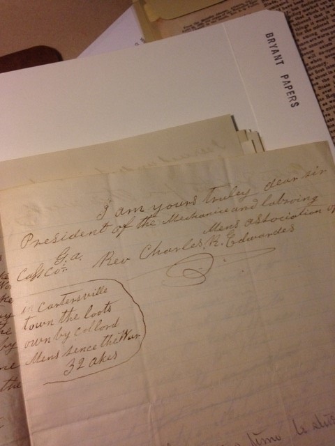 "Handwritten letter, signed ""I am yours truly dear sire, President of the Mechanics and Laboring Mens Association"""