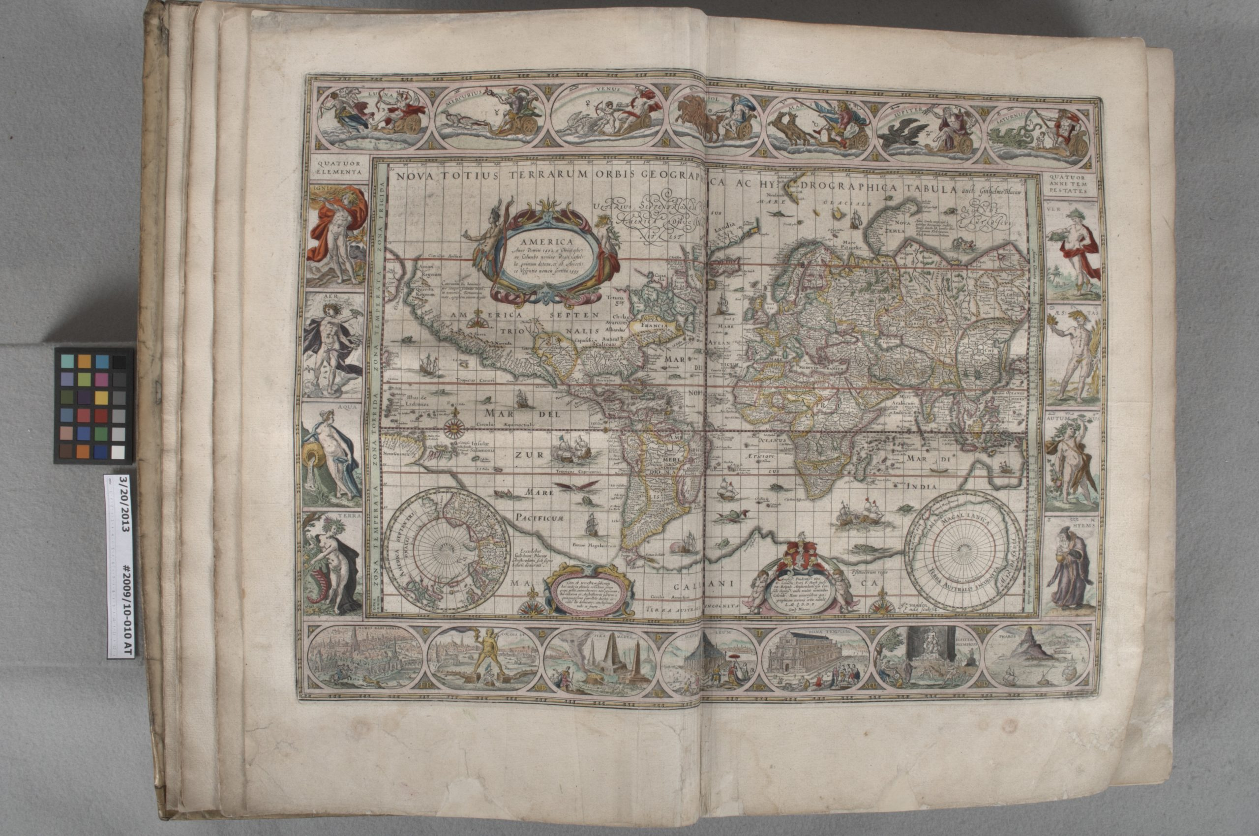 Elaborate printed map showing an early depiction of North and South America