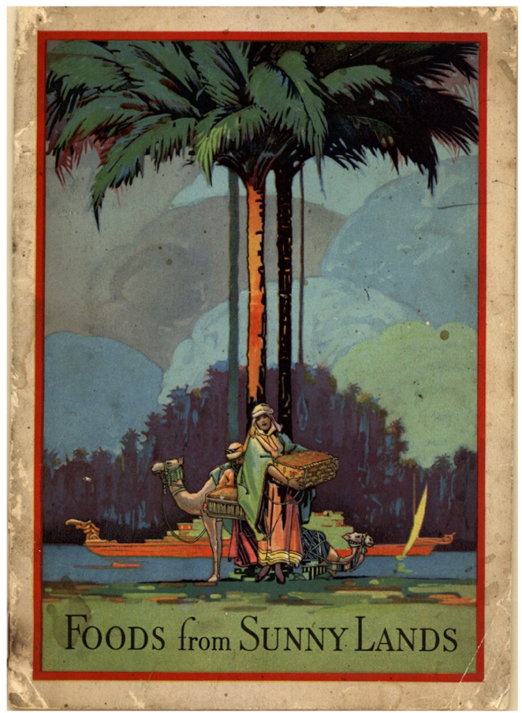 Cover of Foods from Suny Lands, feautring a man in the foreground wearing a head covering and carrying a large basket of dates, behind him are two camels, a palm tree, and a boat on a canal.