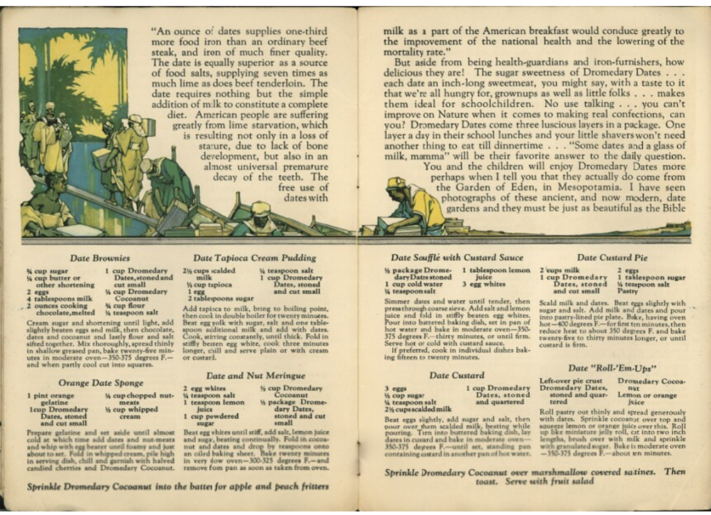 Page opening from the cookbook, it is illustrated with images of Middle Eastern workers loading crates onto or off of a boat. .