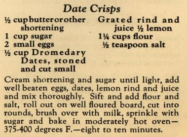 Recipe for Date Crisps