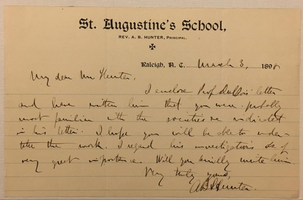 Handwritten letter from A.B. Hunter to Charles Hunter, on letterhead for St. Augustines School in Raleigh, NC.