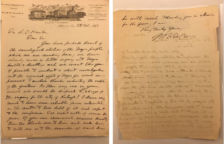 Front and back of handwritten letter from DuBois to Hunter. On letterhead from Atlanta University.