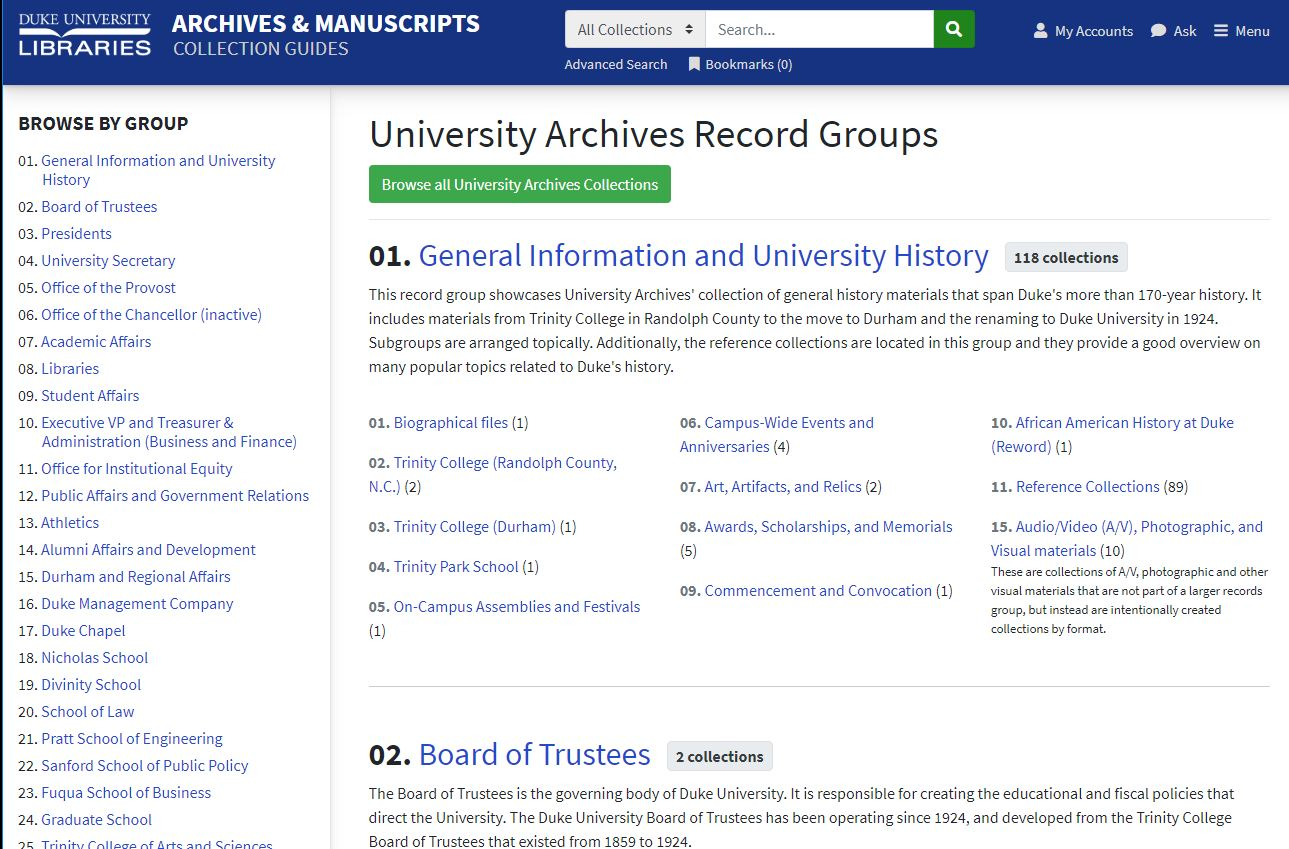 Browse By University Archives Record Group