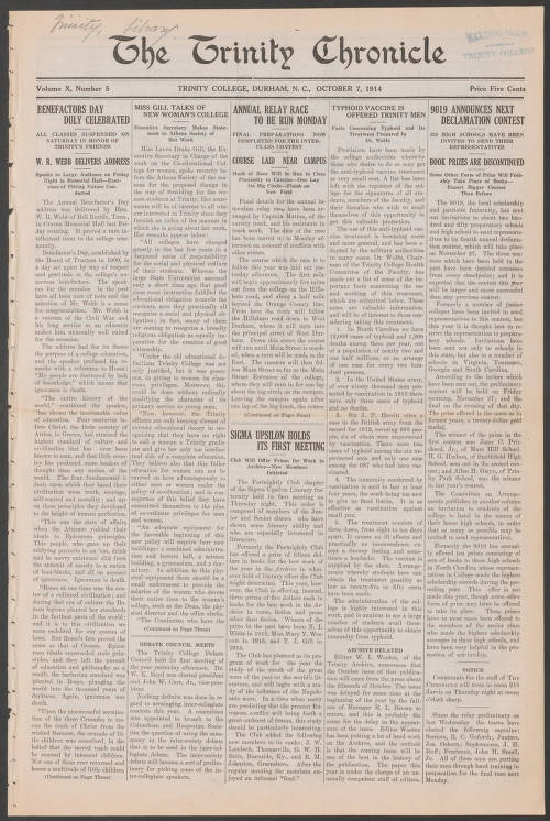 "The front page of the October 7, 1914 Trinity College. The headline to the relevant article reads ""Typhoid Vaccine is Offered Trinity Men."""