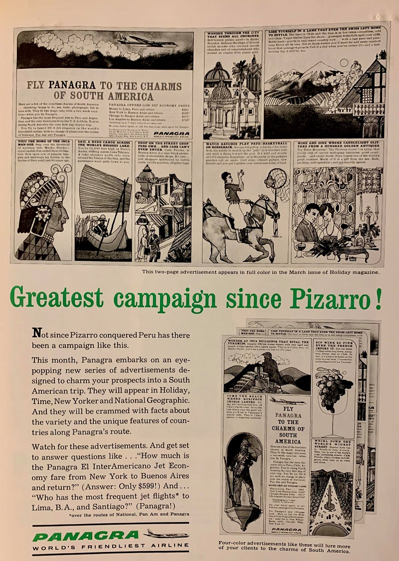 "A black-and-white announcement of JWT's new advertising campaign for Panagra airline. In green text, the announcement proclaims ""Greatest campaign since Pizarro!"" Images of the ads that will be included in national print publications are included."