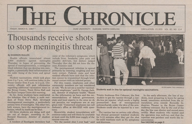 "Article on the front page of the March 6, 1987 Chronicle. The headline reads ""Thousands receive shots to stop meningitis threat."" A black-and-white photo of students waiting in line for the vaccinations accompanies the article."