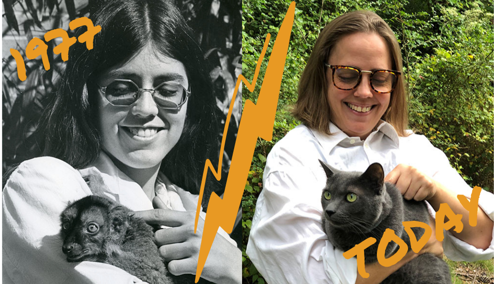 Two side-by-side photos: At left: a ca. 1977 photo of caretaker Suzanne Lassiter holding a lemur at the Duke Primate Center, ca. 1977. At right: University Archivist Val Gillispie recreates the same photo with her cat, Barbecue Sauce.