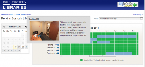 Desktop view of the new room reservation interface. Click on the image to go to the site.