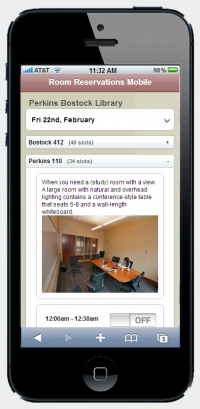 Use your phone to book a library study, and see photos of the available rooms!