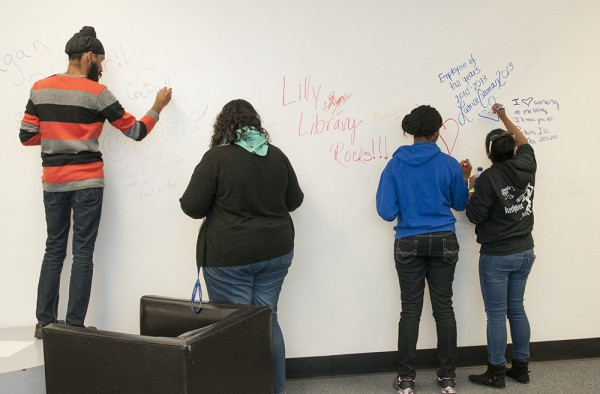 The students were invited to write on the wall outside the Gothic Reading Room and bid farewell to the Libraries.