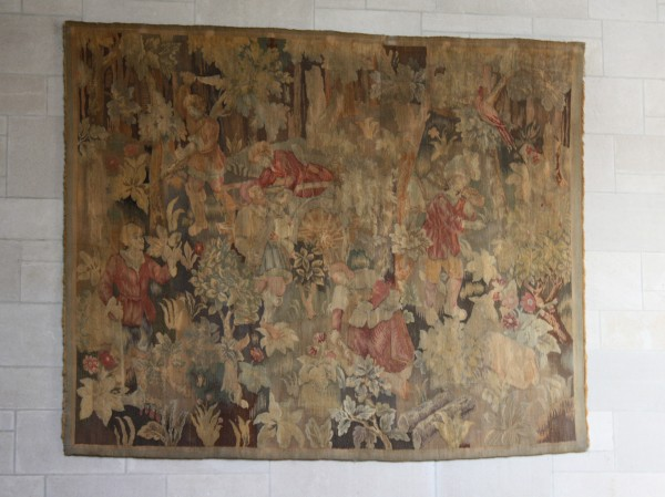 Say goodbye to the old tapestry! We're removing it as part of the upcoming Rubenstein Library renovation. It will return to its proper home at the Nasher Museum.