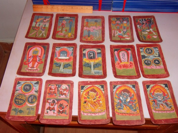 The collection also includes many tsakli, or handmade colorfully-illustrated initiation cards employed in various rituals.