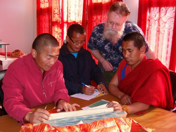Duke librarian Edward Proctor, second from right, worked with monks at the monastery in 2009 to determine the feasibility of digitizing the Bön manuscripts.
