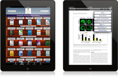 Screenshots showing the bookshelf and article view on BrowZine, a new tool the Libraries are currently trialing.
