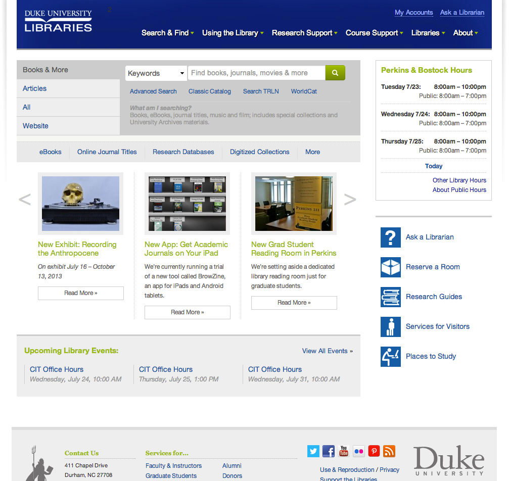 Website redesign portal mockups duke university Website home image