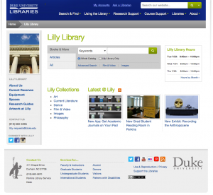 Rubenstein Library Mockup. Click to Enlarge Image or See Interactive Version (Duke IPs only)