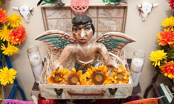 Detail of the Day of the Dead altar on display outside the International and Area Studies offices in Bostock Library.