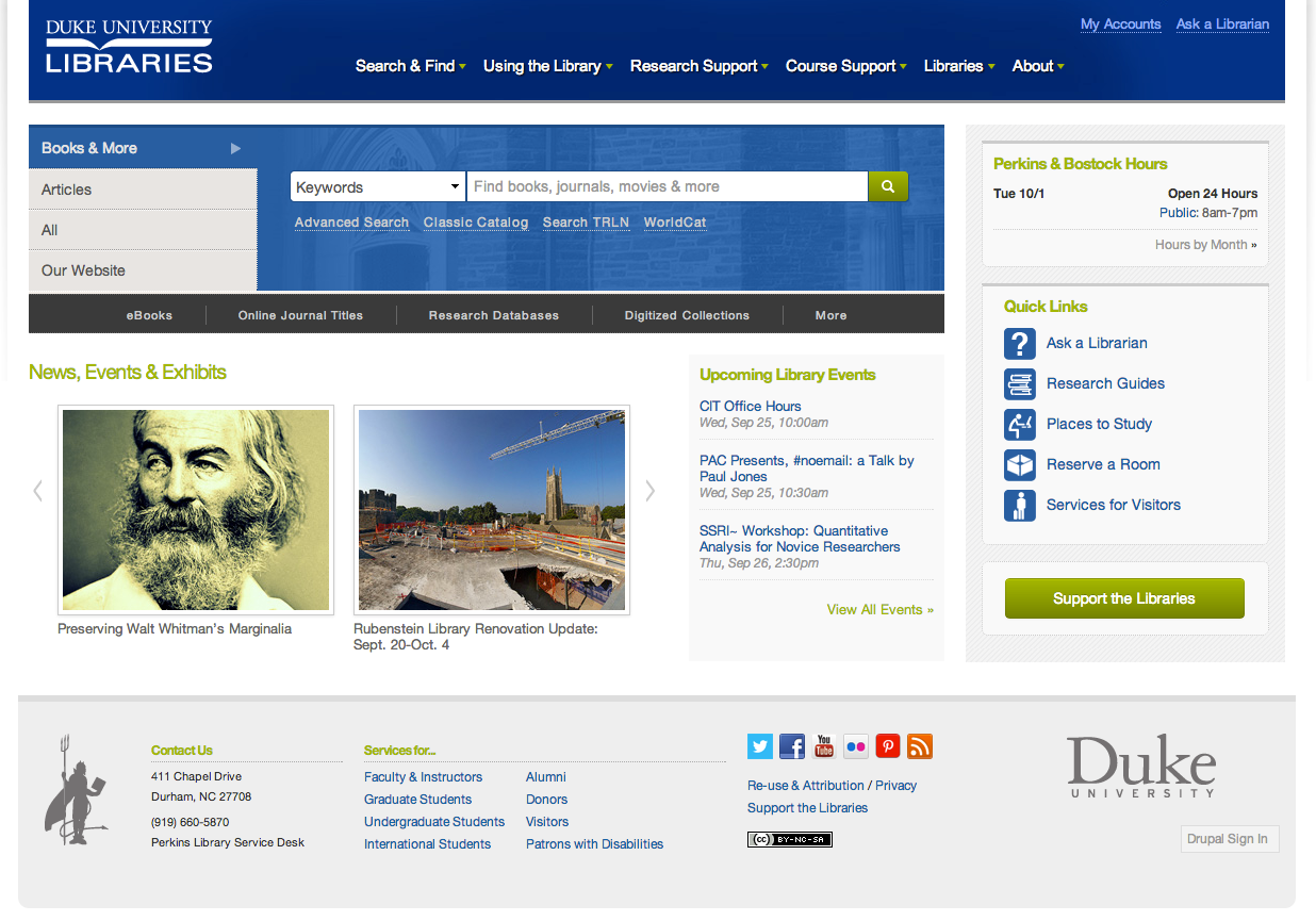 new library website launching on duke university new duke libraries website homepage click to enlarge