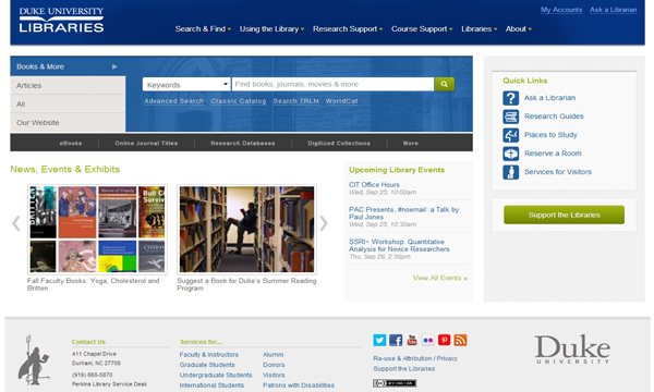 Click on the screenshot to see the new Duke University Libraries website (Duke on-campus access only).