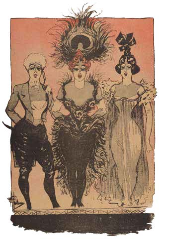 Illustration of cabaret girls by Albert Guillaume from Gil Blas, a Parisian literary periodical published 1879-1914.