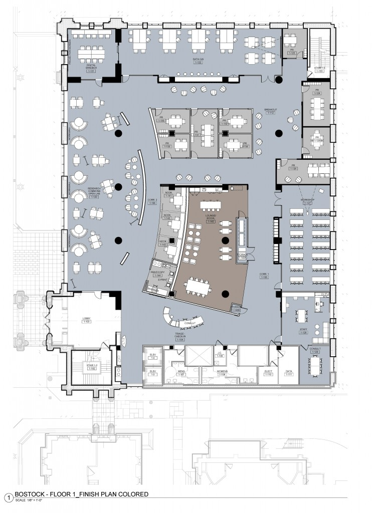 Floor plan of the Research Commons, which will occupy the entire first floor of Bostock Library.