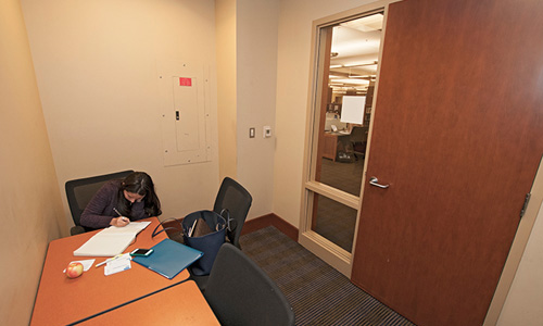 The new Interview Room, Perkins 130, is equipped with a dedicated phone line.