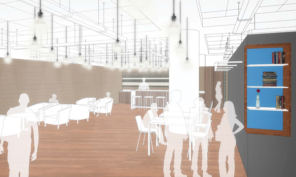 Architectural rendering of a planned social lounge space in the Research Commons on the first floor of Bostock Library.
