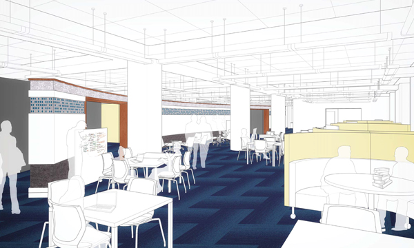 Rendering of the Open Lab seating area of the Research Commons.