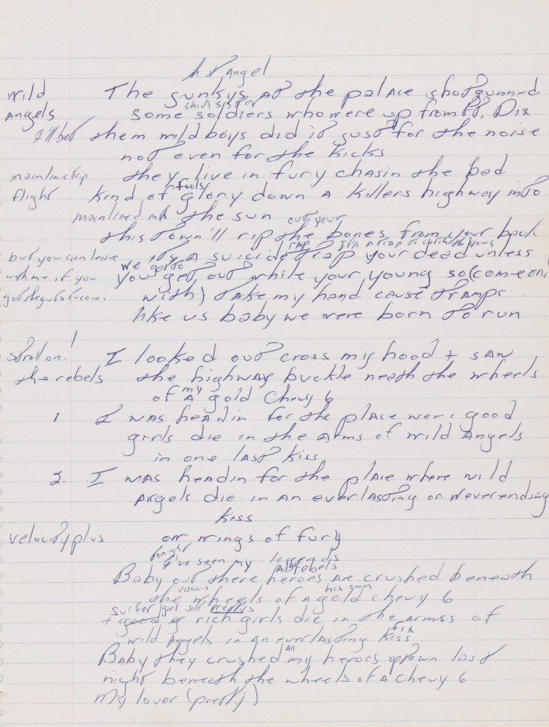 "The first draft manuscript of Bruce Springsteen's ""Born to Run"" will be displayed in Perkins Library. Image courtesy of Sotheby's. Click for high-res version."