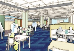 Architectural rendering of the Research Commons on the first floor of Bostock Library. Renovations will take place May-November 2014.