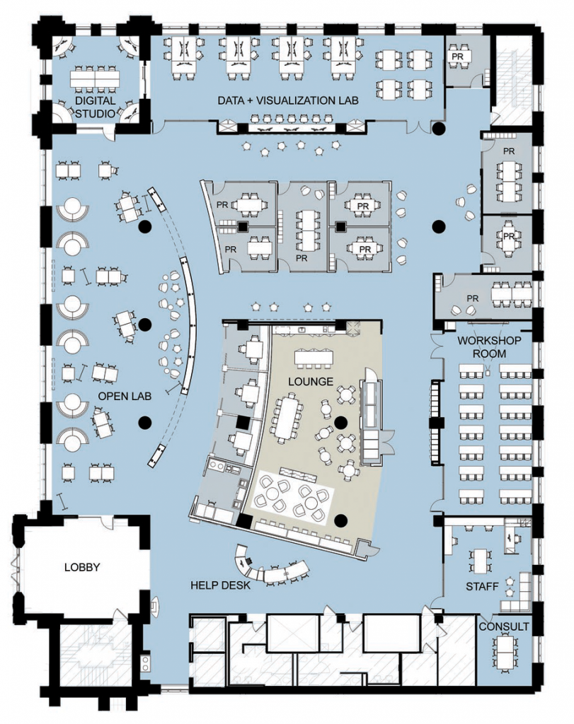 Floorplan of The Edge on the renovated first floor of Bostock Library