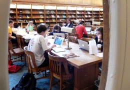 Students studying in the Lilly Reference Room