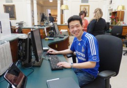 Victor chillin' at the Lilly desk