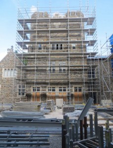 The 1948 library tower under scaffolding, August 2014. See our Flickr gallery of renovation photos for more.