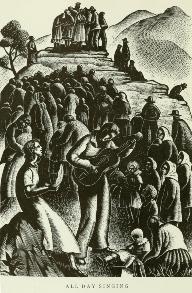 """All Day Singing."" Woodcut by Clare Leighton, from Vol. 2 of the Frank C. Brown Collection of North Carolina Folklore, published by Duke University Press in 1952."