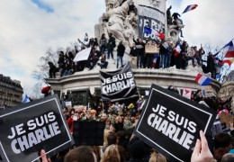 Parisians rally at the Place de la Republique in support of the victims of the January 7, 2015 Charlie Hebdo shooting. Photo by Olivier Ortelpa from Wikimedia Commons.