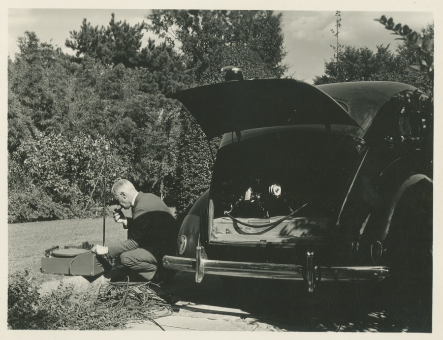 Frank C. Brown in the field, date and location unknown. Brown often used a car battery to power the recording devices he used.